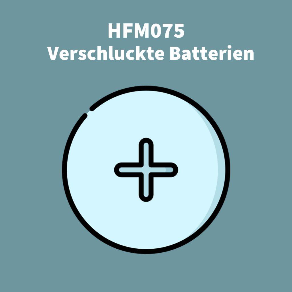 Coverbild der Podcastfolge über verschluckte Batterien